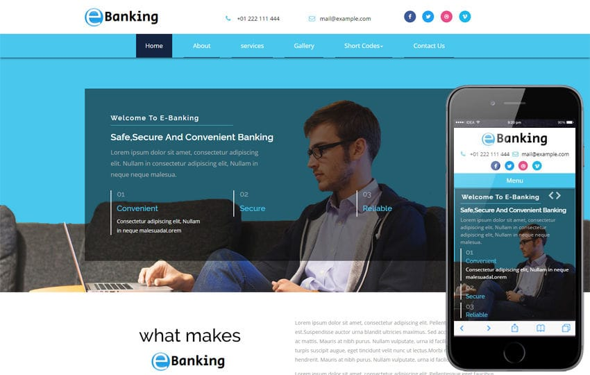 E-Banking a Banking Category Bootstrap Responsive Web Template Mobile website template Free