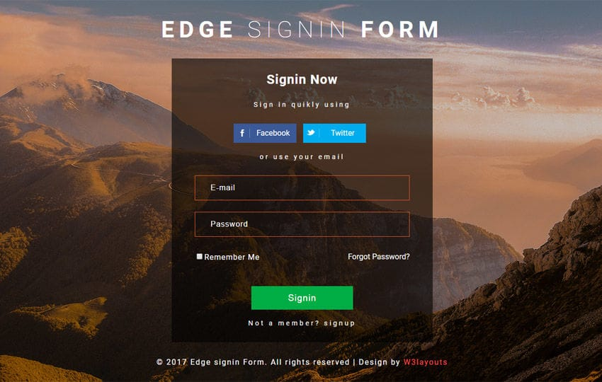 Edge Sign In form Flat Responsive Widget Template