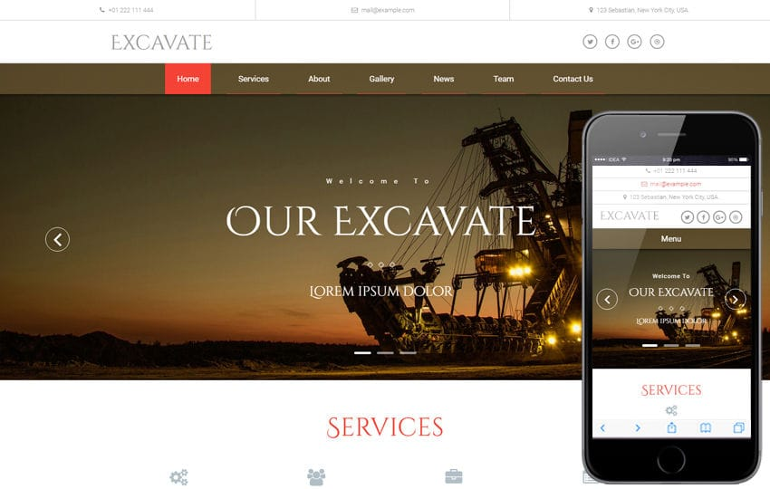 Excavate an Industrial Category Bootstrap Responsive Web Template