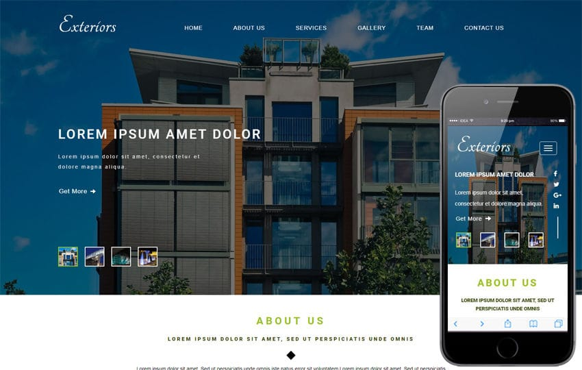 Exteriors an Exterior Category Bootstrap Responsive Web Template Mobile website template Free