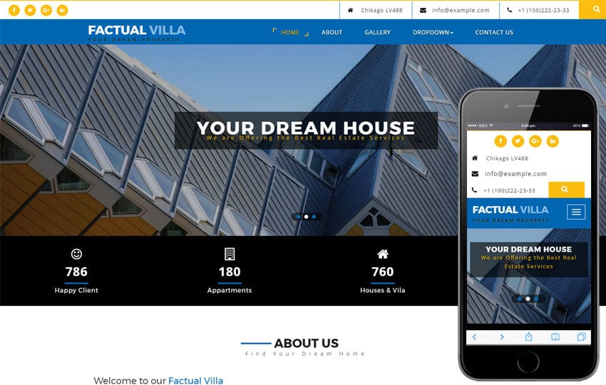 Factual Villa a Real Estate Category Bootstrap Responsive Web Template Mobile website template Free