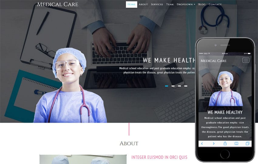 Medical Care a Medical Category Bootstrap Responsive Web Template Mobile website template Free