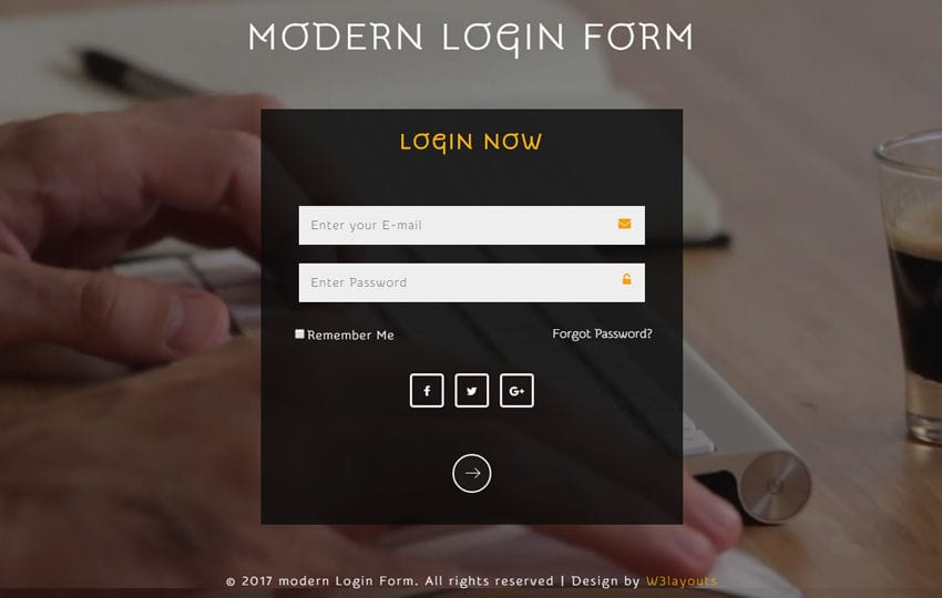 Modern Login Form a Responsive Widget Template Mobile website template Free