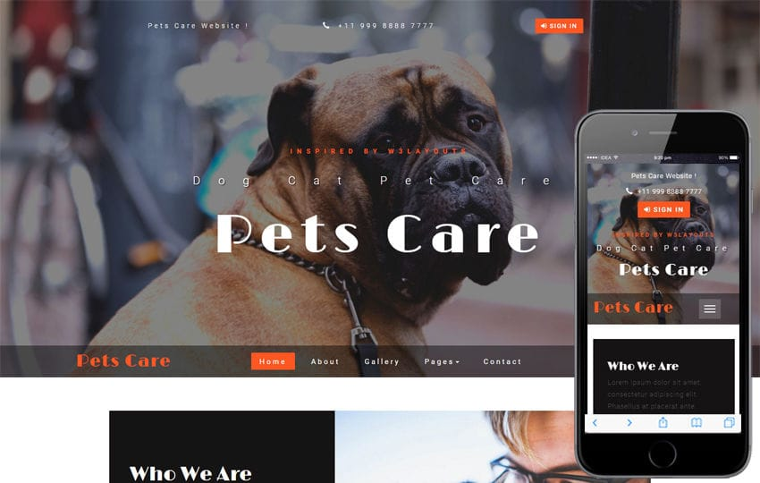 Pets Care an Animals Category Bootstrap Responsive Web Template Mobile website template Free