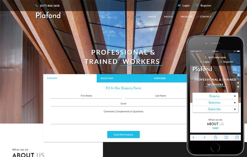 Plafond an Exterior Category Bootstrap Responsive Web Template Mobile website template Free
