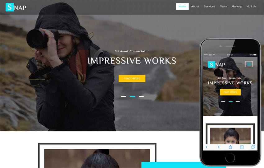 Snap a Photo Gallery Category Bootstrap Responsive Web Template Mobile website template Free