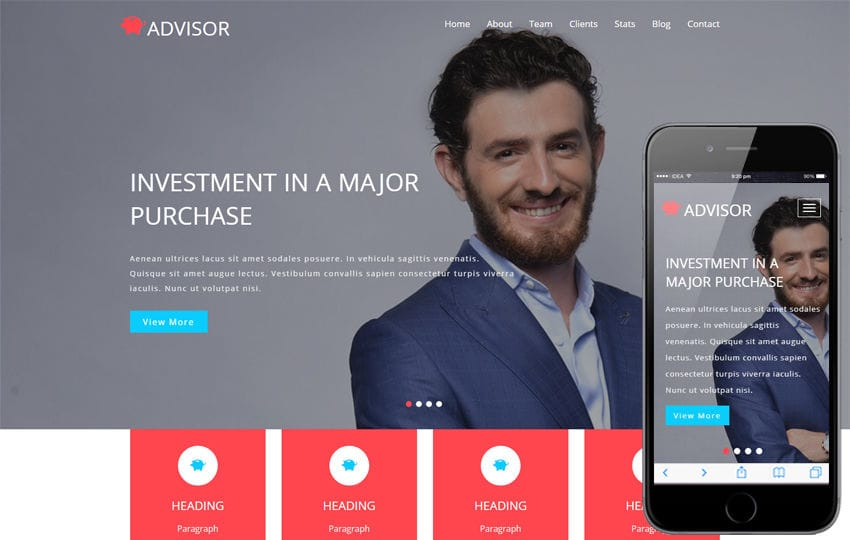 Advisor a Banking Category Bootstrap Responsive Web Template Mobile website template Free
