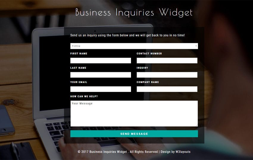 Business Inquiries Widget Flat Responsive Widget Template