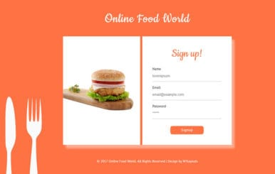Online Food World Flat Responsive Widget Template