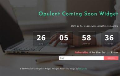 Opulent Coming Soon Widget Flat Responsive Widget Template