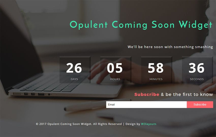 Opulent Coming Soon Widget Flat Responsive Widget Template Mobile website template Free