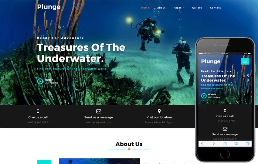 Plunge a Sports Category Bootstrap Responsive Web Template