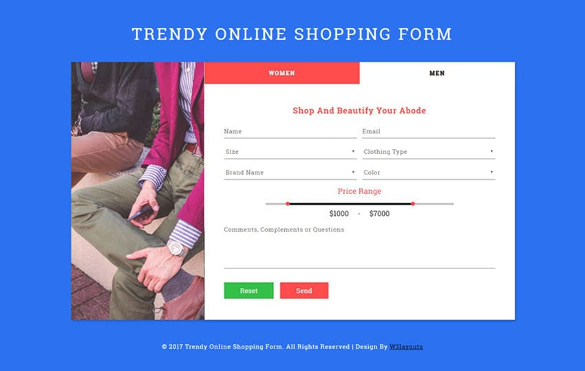 Trendy Online Shopping Form Flat Responsive Widget Template