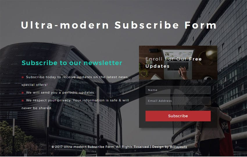 Ultra-modern Subscribe Form Responsive Widget Template