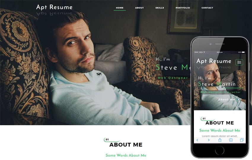 Apt Resume a Personal Category Bootstrap Responsive Web Template Mobile website template Free