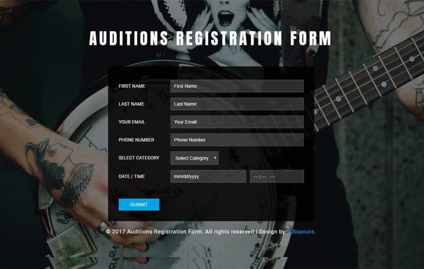 Auditions Registration Form Flat Responsive Widget Template
