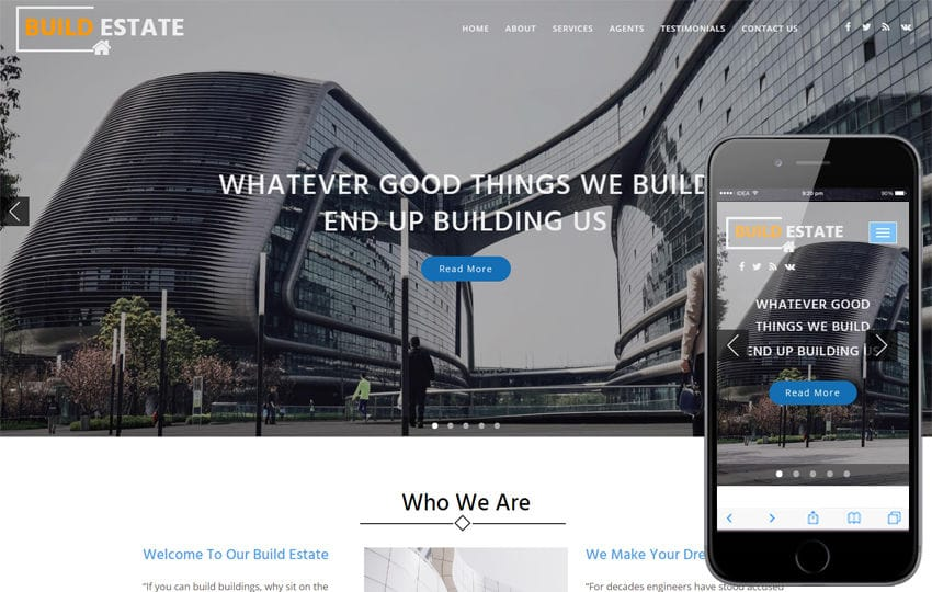 Build Estate a Real Estate Category Bootstrap Responsive Web Template Mobile website template Free