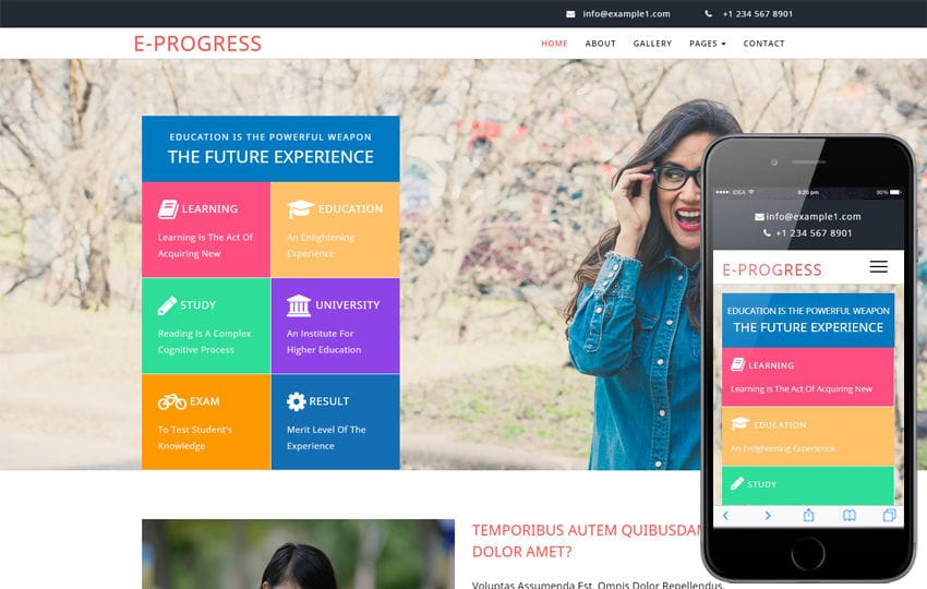 E progress an Education Category Bootstrap Responsive Web Template