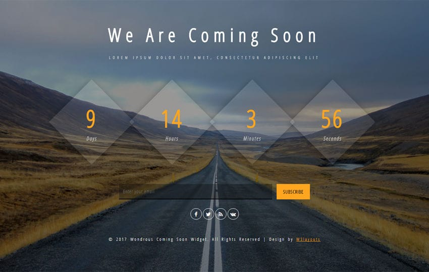 Wondrous Coming Soon a Flat Responsive Widget Template