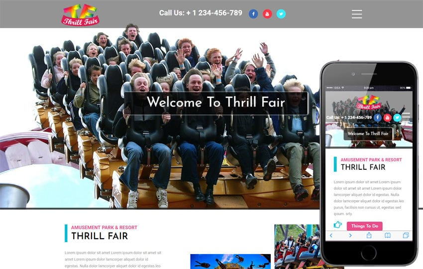 ThrillFair an Entertainment Category Bootstrap Responsive Web Template Mobile website template Free
