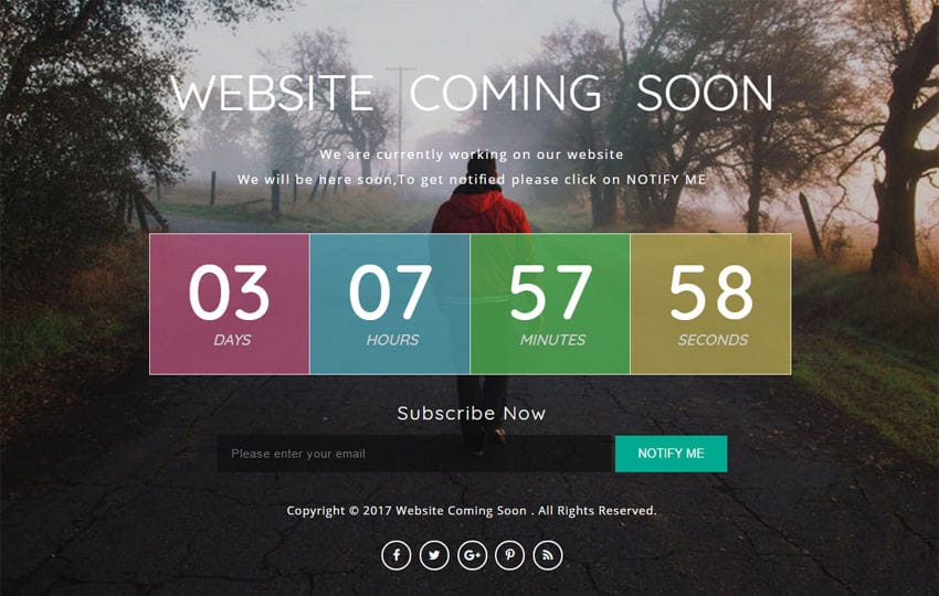 Website Coming Soon a Flat Responsive Widget Template