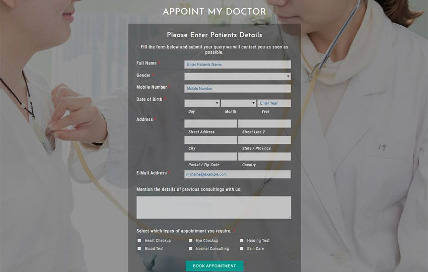Appoint My Doctor a Flat Responsive Widget Template