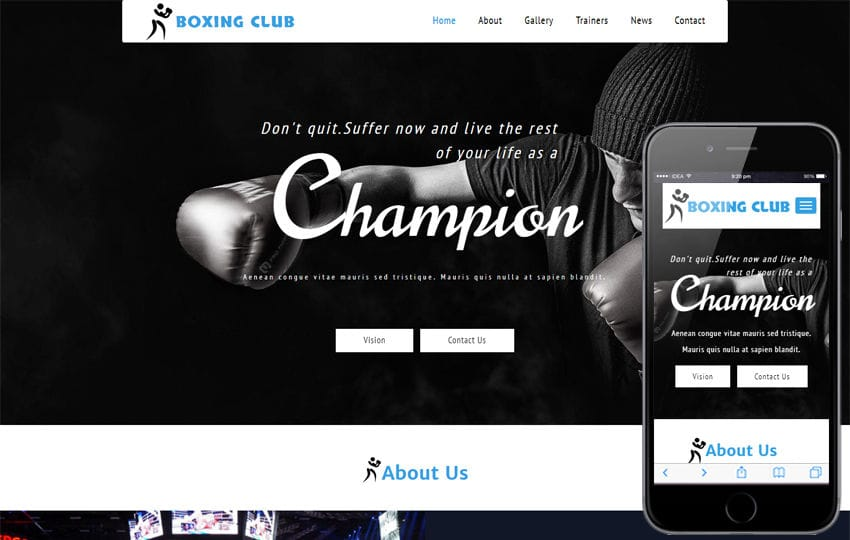 Boxing Club a Sports Category Bootstrap Responsive Web Template