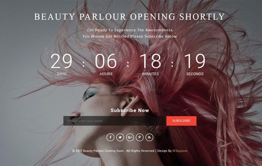 Beauty Parlor Coming Soon a Flat Responsive Widget Template