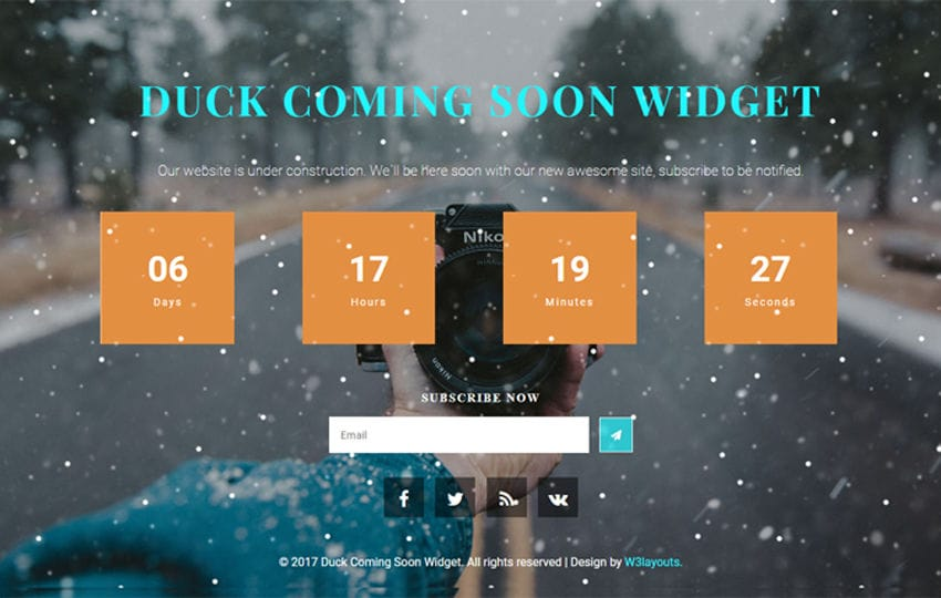 Duck Coming Soon Flat Responsive Widget Template Mobile website template Free