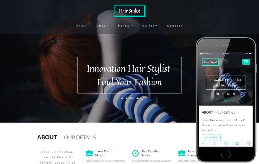 Hair Stylist a Beauty and Spa Category Bootstrap Responsive Web Template Mobile website template Free