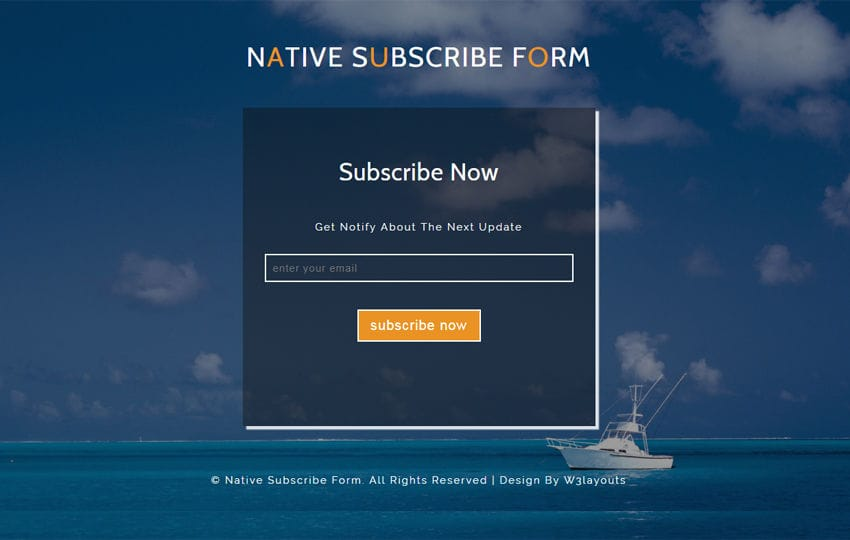 Native Subscribe Form a Responsive Widget Template