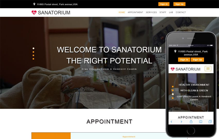 Sanatorium a Medical Category Bootstrap Responsive Web Template Mobile website template Free