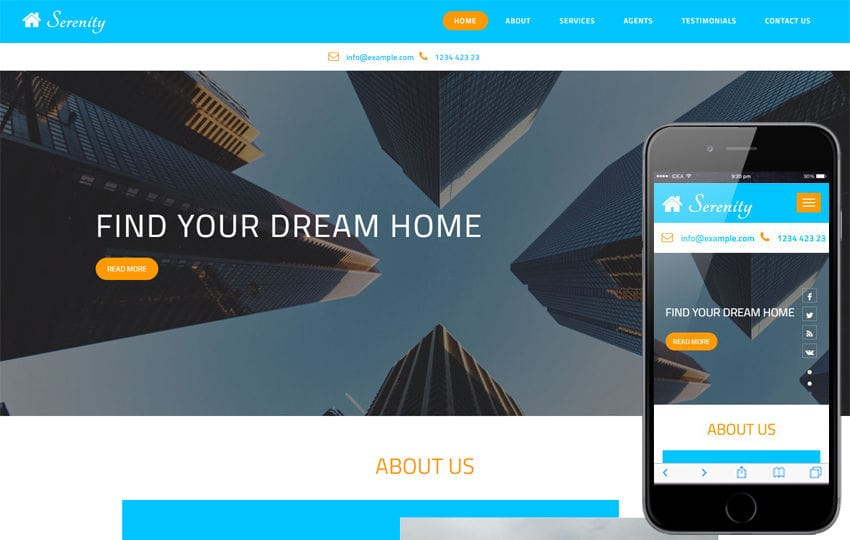 Serenity a Real Estates Category Bootstrap Responsive Web Template Mobile website template Free