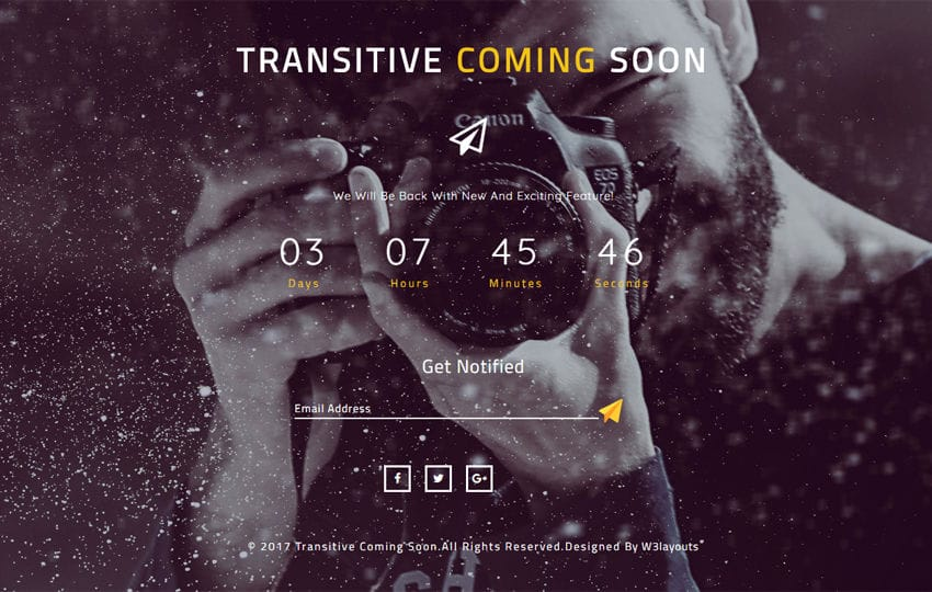 Transitive Coming Soon a Responsive Widget Template