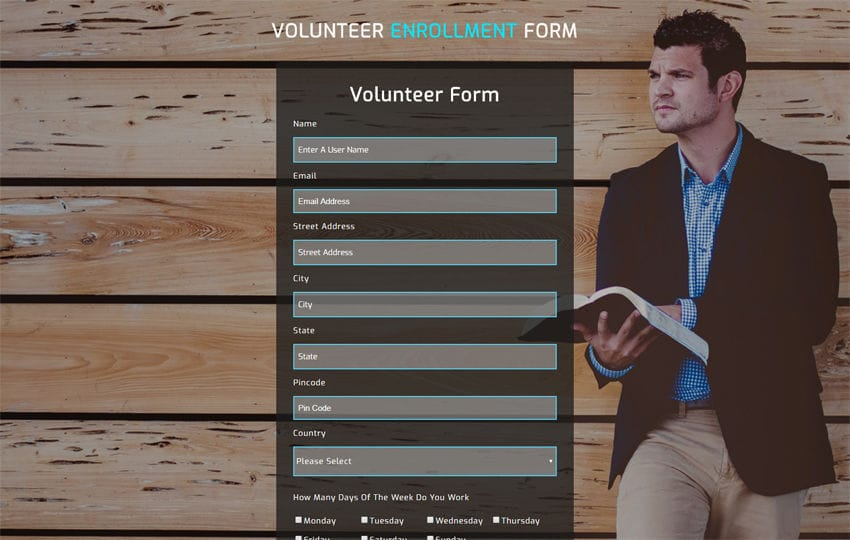 Volunteer Enrollment Form Responsive Widget Template