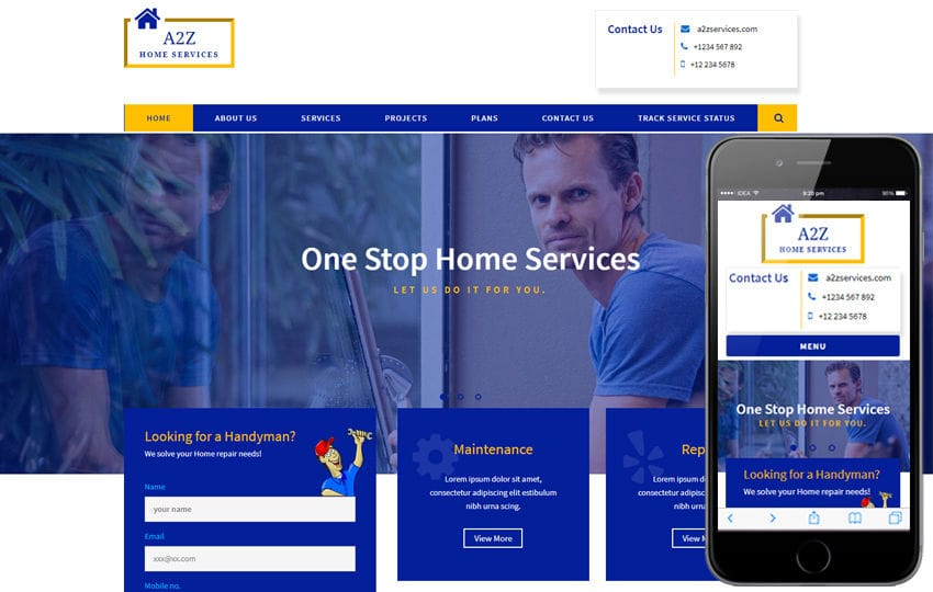 A2Z a Corporate Category Bootstrap Responsive Web Template Mobile website template Free