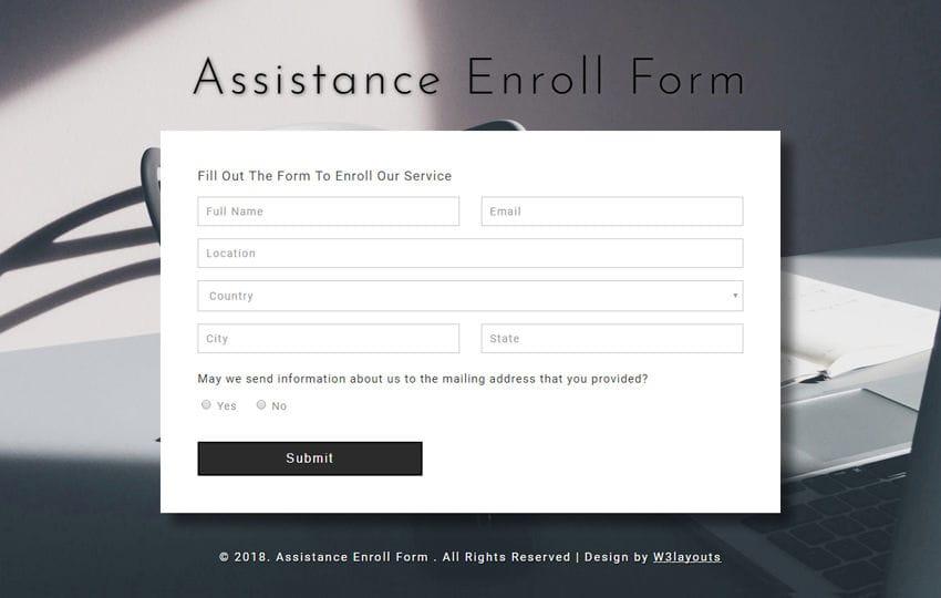 Assistance Enroll Form a Responsive Widget Template