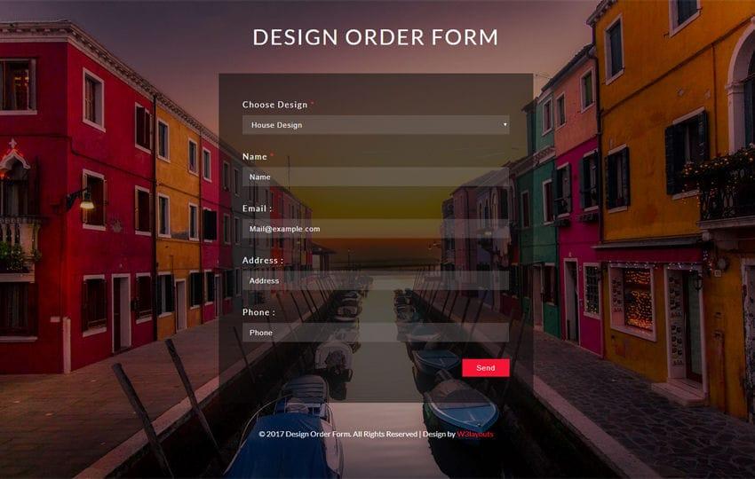 Design Order Form a Flat Responsive Widget Template