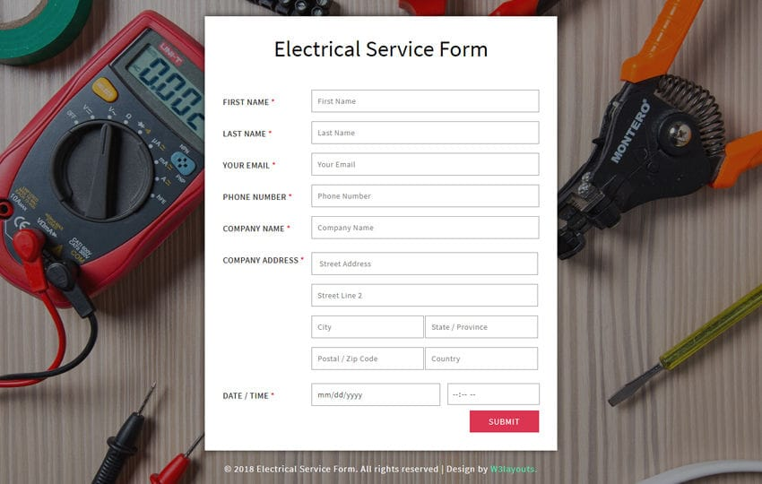 Electrical Service Form a Flat Responsive Widget Template
