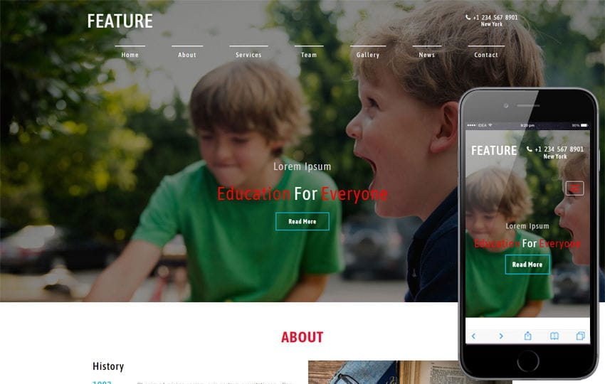 Feature an Education Category Bootstrap Responsive Web Template Mobile website template Free