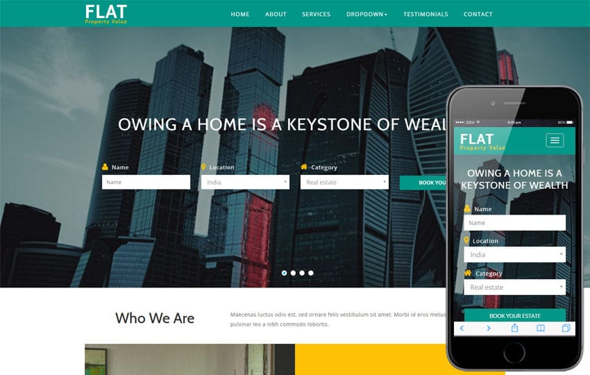 Flat a Real Estate Category Bootstrap Responsive Web Template Mobile website template Free