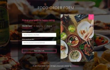 Food Order Form a Flat Responsive Widget Template