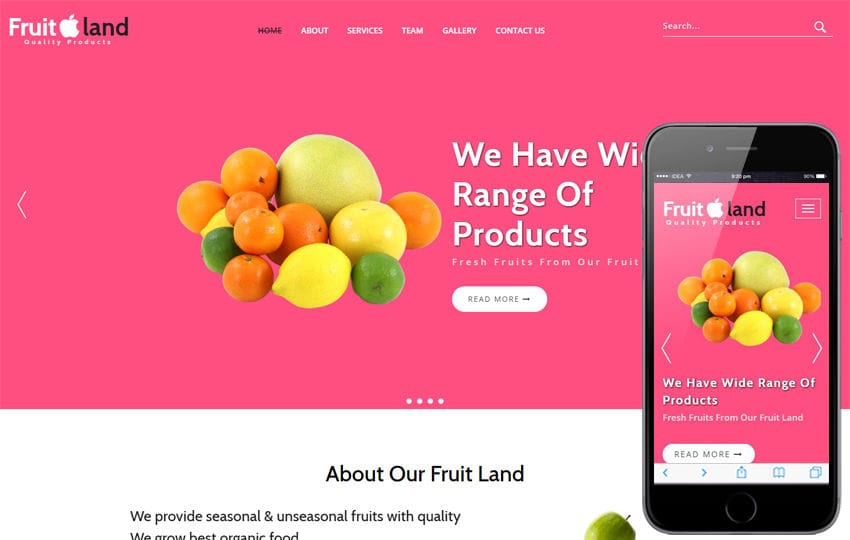 Fruit Land an Agriculture Category Bootstrap Responsive Web Template Mobile website template Free