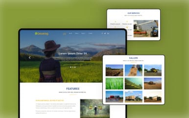 Growing an Agriculture Category Bootstrap Responsive Web Template