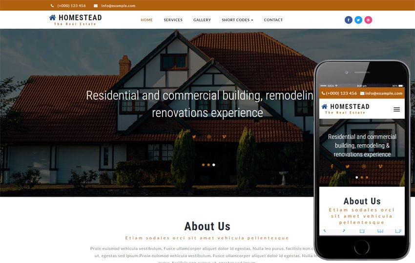 Homestead a Real Estate Category Bootstrap Responsive Web Template Mobile website template Free
