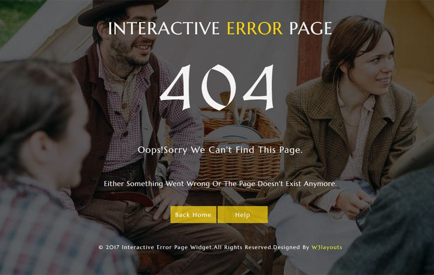 Interactive Error Page a Responsive Widget Template Mobile website template Free