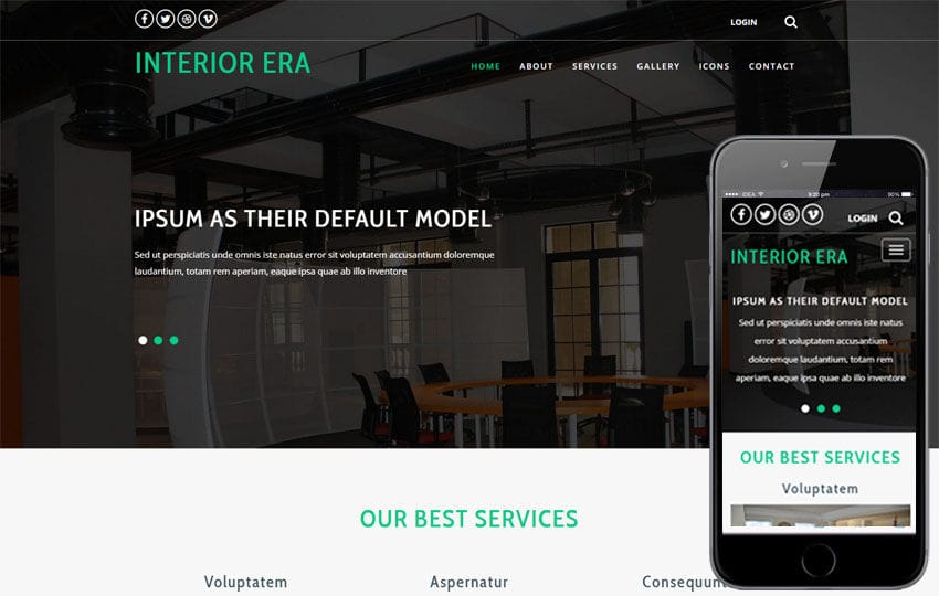 Interior Era an Interior Category Bootstrap Responsive Web Template Mobile website template Free