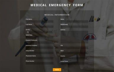 Medical Emergency Form Flat Responsive Widget Template