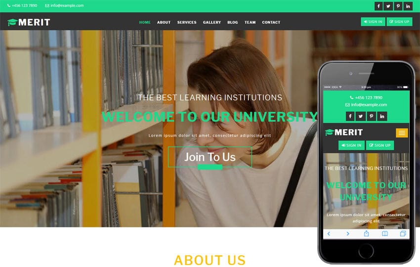 Merit an Education Category Bootstrap Responsive Web Template Mobile website template Free