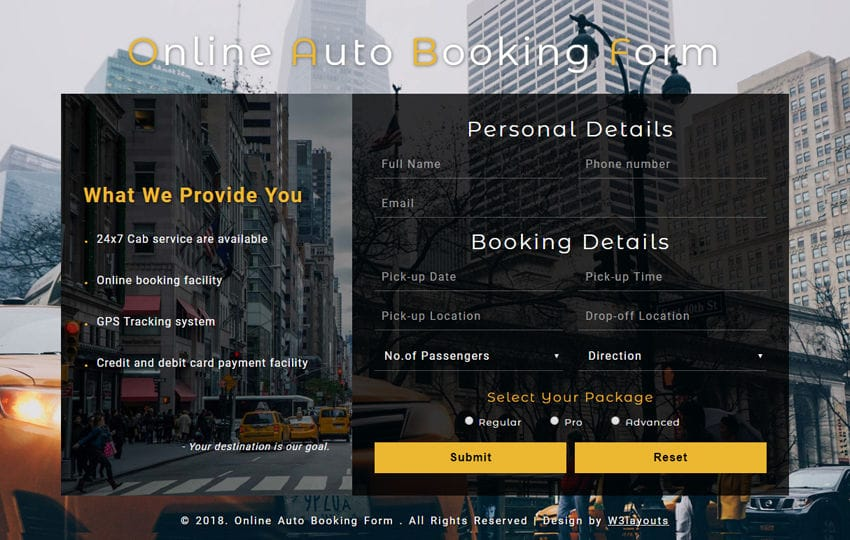 Online Auto Booking Form a Responsive Widget Template